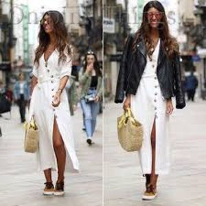 ZARA White button down high slit Dress, XL